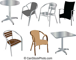 illustration of tables and chairs - vector