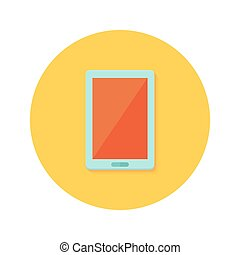 Tablet icon over orange