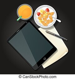 illustration of tablet with cereal bowl and orange juice