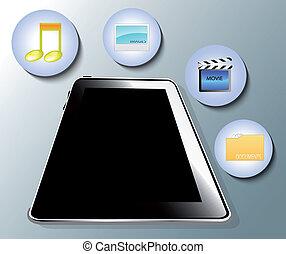 Illustration of tablet with media symbols