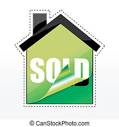 tag of sold in shape of house
