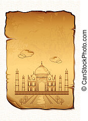 Taj Mahal - illustration of Taj Mahal on ancient paper