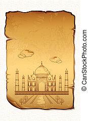 Taj Mahal - illustration of Taj Mahal on ancient paper