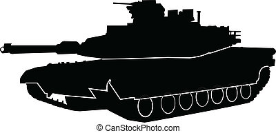 illustration of tank with outline - vector