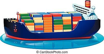 tanker - illustration of tanker on water