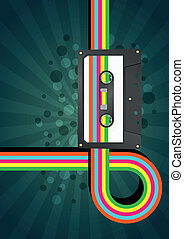 illustration of tape cassette with color graphic