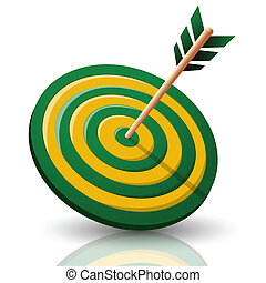 illustration of target board with arrow on white background