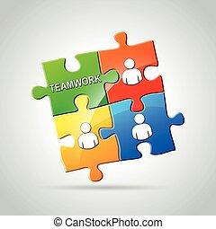 teamwork jigsaw puzzle concept