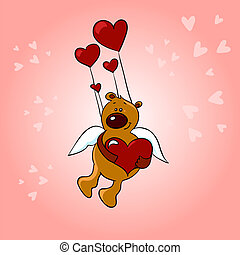illustration of teddy bear in retro love