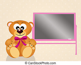 teddy bear with pink ribbon and blackboard