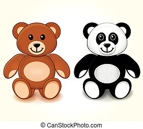 teddy bears on white background