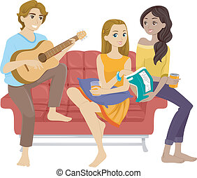 Friends Hanging Out - Illustration of Teenage Friends...