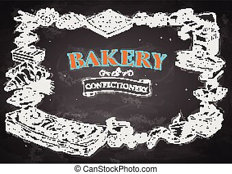 template of different types of Bakery item for menu background design of Hotel or restaurant