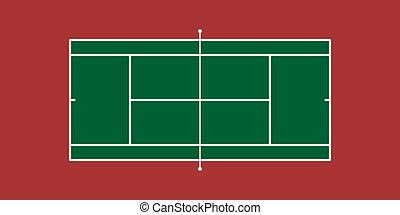Tennis Court - Illustration of Tennis Court (Hard Court)