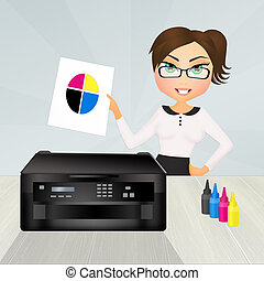 Test the printer color - illustration of Test the printer...