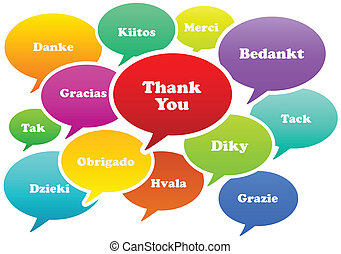 Thank You - Illustration Of Thank You Bubbles In 13...