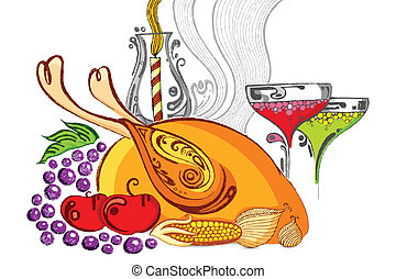 illustration of Thanksgiving feast with turkey and fruit