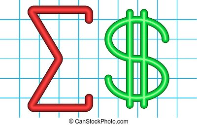Amount of dollars - Illustration of the abstract math...