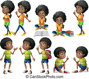 African-American kids - Illustration of the African-American...