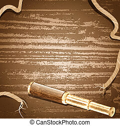 antique brass telescope and rope