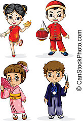 Illustration of the Asian people on a white background