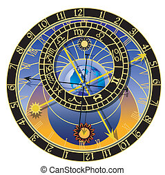 Illustration of the astronomical clock - vector