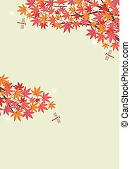 Illustration of the autumn scenery with Japanese maple and red dragonfly- khaki background - for horizontal writing of portrait format