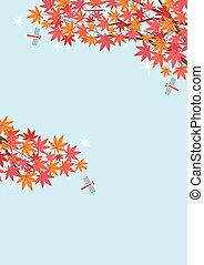 Illustration of the autumn scenery with Japanese maple and red dragonfly- sky background - for horizontal writing of portrait format