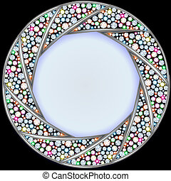 background frame with precious stones in the shape of a circle