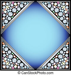 background frame with triangles with precious stones