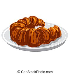 baked croissant - illustration of the baked croissant on the...