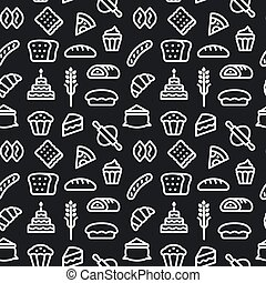 illustration of the bakery and bread seamless pattern