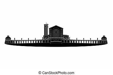 Illustration of the basilica of Aparecida black fill -...