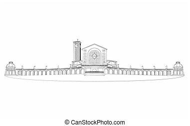 Illustration of the basilica of Aparecida different outline...