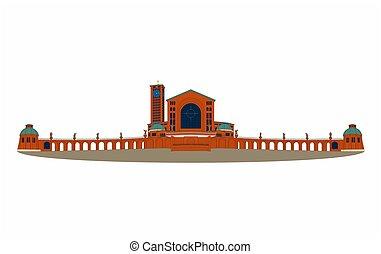 Illustration of the basilica of Aparecida with black outline...