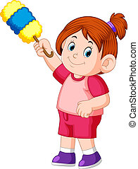 the beautiful girl holding the duster to clean uo the dust -...