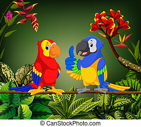 the beautiful parrots are talking on the stalk