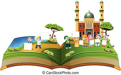 the beautiful story book with the children holding the blank...