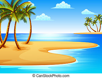 the beautiful tropical beach view with some coconut trees on the coast