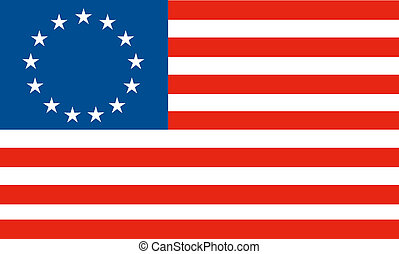 Illustration of the Betsy Ross flag, the first American flag