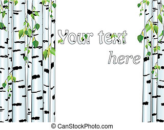Illustration of the birch trunk frame with copyspace for ...