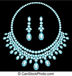 blue necklace women for marriage with precious stones
