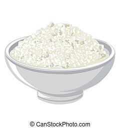 cottage cheese - illustration of the bowl with a cottage ...