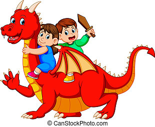 the boy and the girl playing with the big red dragon and the boy holding the sword