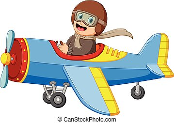 the boy is flying a plane with the happy face