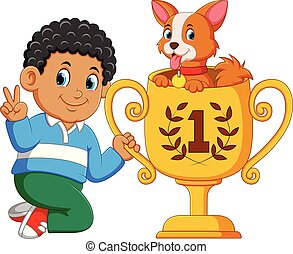 the boy who is the first rank is holding his trophy with the dog on it