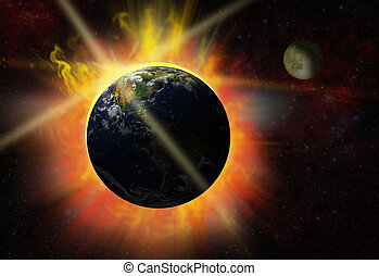 solar flare - Illustration of the break of day - eclipse - ...