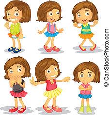 Illustration of the Brunette kids on a white background