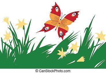 illustration of the butterfly amongst flower