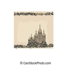 castle in retro style